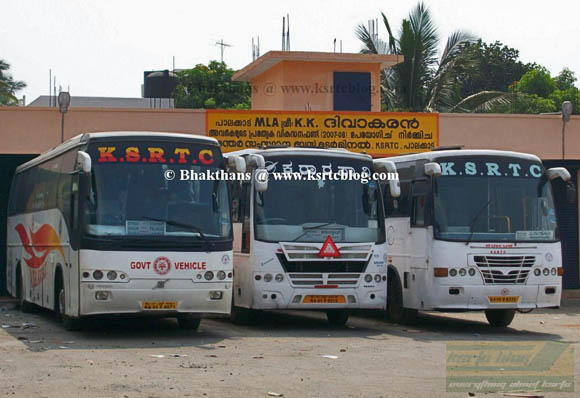 3 Karnataka RTC buses parked inside Palakkad Depot. Kerala RTC is operating only one service from Palakkad.