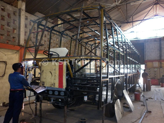 KSRTC Bus Body Building Under Progress In Regional Workshop, Edappal