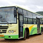 One of the brand new 'green' buses introduced by the Karnataka State Road Transport Corporation to tourist destinations such as Chamundi Hills