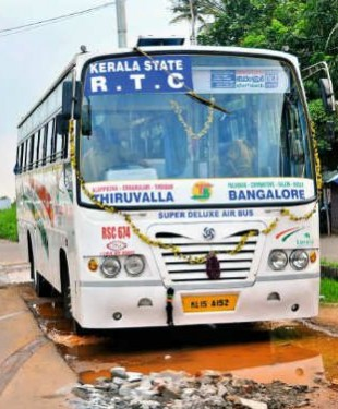 KSRTC DEluxe bus with wifi and sticker