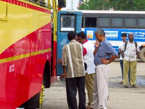 KSRTC CMD Antony Chacko Inspecting a brand new Fast Passenger Bus at Ernakulam Bus Station