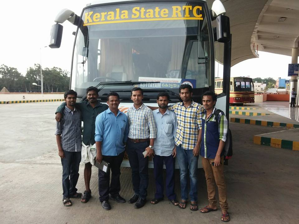 team ksrtc blog doing sticker work on buses5