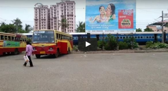 KSRTC Aanavandi and Indian Railways Netravati Express in one frame