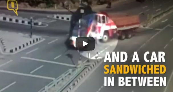 Caught On Camera: Car Crushed Between Two Speeding Trucks, 5 Dead