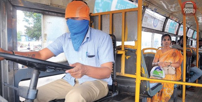 Covering faces, trainee drivers get on the job