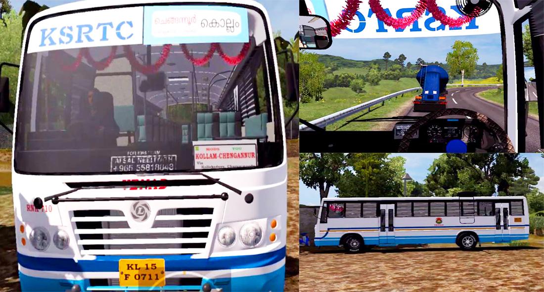 KSRTC Ordinary bus Crazy driving on ETS 2 Game - Aanavandi